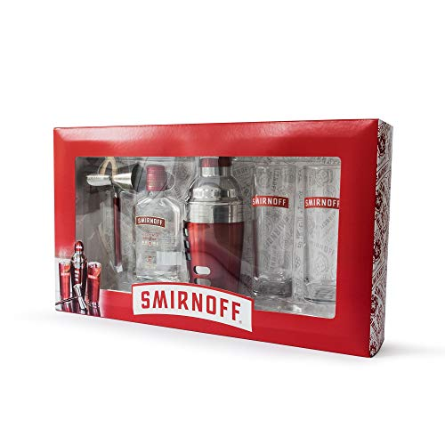 Smirnoff Vodka Cocktail Gift Set | 20 cl Bottle of Smirnoff Vodka No. 21, 2 x Official Smirnoff Glasses, Single / Double Measure Jigger and Cocktail Shaker - Shoppersbase