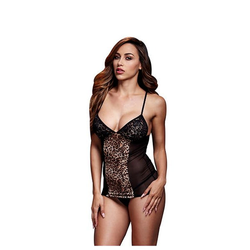 Leopard Basque & Garter Stays No Panty One Size Baci Lingerie BW3109-LEOOS - Shoppersbase