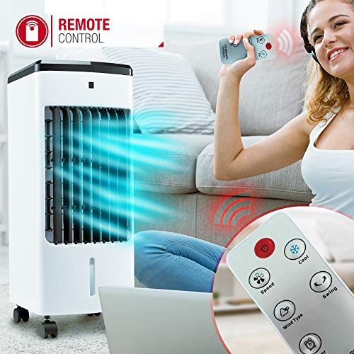NETTA Portable Air Cooler with Remote Control and LED Display, 3 Fan Speeds with Oscillation Function, 12 Hour Timer and 4 Litre Water Tank Supplied with 2 Ice Packs - Shoppersbase
