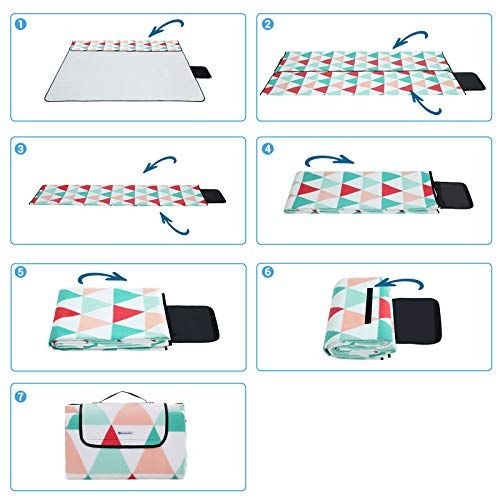 SONGMICS Picnic Blanket, 200 x 200 cm, Large Beach Blanket for Outdoor Camping, Park, Yard, with Waterproof Backing, Foldable, Red Triangle Pattern GCM70RJ - Shoppersbase