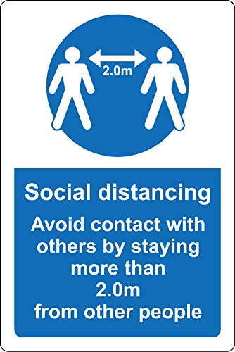 Social distancing avoid contact with others by staying more than 2 metres from other people Safety sign - 1.2mm Rigid plastic 200mm x 150mm - Shoppersbase