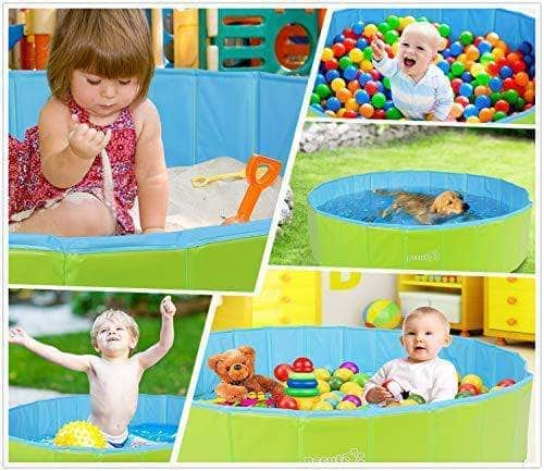 Pecute Dog Paddling Pool, Sturdy Foldable Dog Swimming Pool with Handle - Pet Bathtub Children Kids Ball Pits Sandbox Bathing Pool For Garden Patio Bathroom (M: 80 x 20 cm)