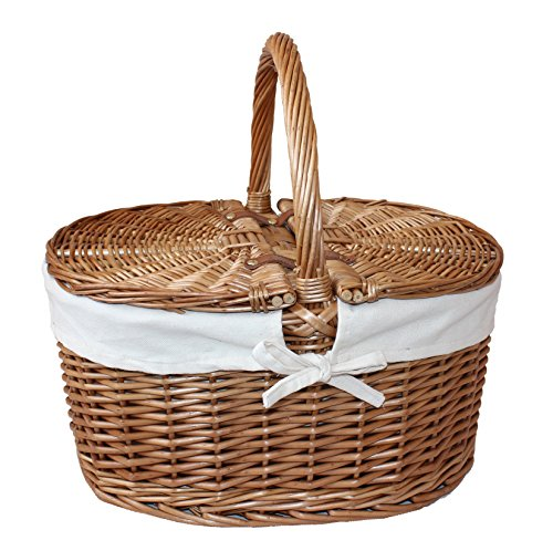 Uppercrust Large White Lined Double Lidded Picnic Basket - Shoppersbase