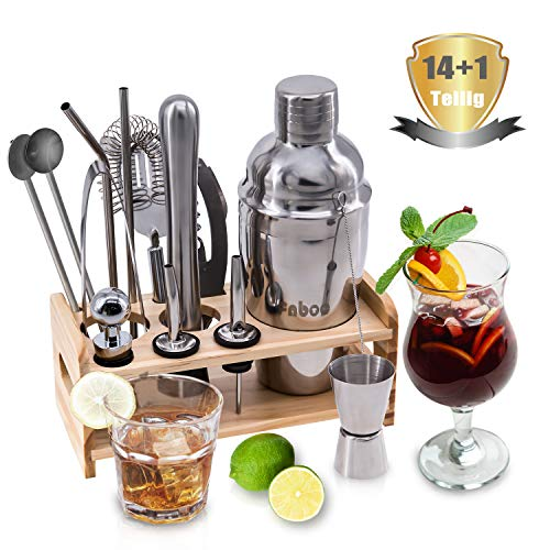 Creatck cocktail set, 15 pieces, cocktail shaker, cocktail accessories, 550 ml cocktail shaker, bar measure, strainer, ice tongs, waiter's knife, straws, bar spoon, pourer, paperback, bar set - Shoppersbase