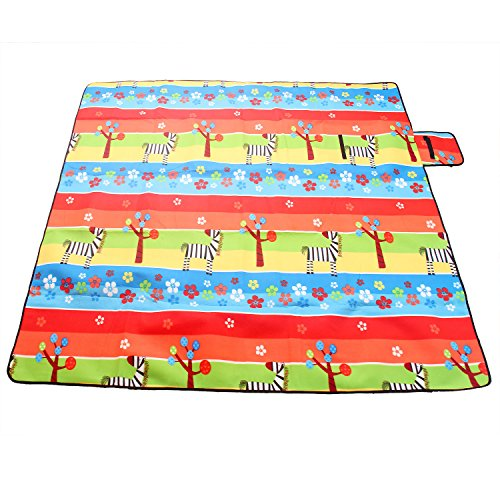 "TUKA 78"" x 77"" Fleece Picnic Blanket TKD4011, Waterproof 200x196 cm Extra Large Picnic Rug with Carry Handle, Camping Mat Festival Blanket, for Camping Outdoor Beach Travel, colorfulgiraffe - Shoppersbase"