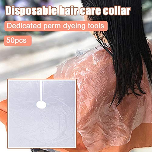 "VAINECHAY 50 Pieces Disposable Hairdresser Cape Waterproof Hairdressing Apron Hair Cutting Capes Hairdressing Apron Transparent Cloth 39""x 39"" - Shoppersbase"
