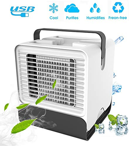 huasida Personal Air Cooler Fan, Portable Air Conditioner, Humidifier, Box Fan,Purifier 3 in 1 Evaporative Cooler,Mini AC USB Cooling Desktop Fan for Bedroom, Travel, Office(White) - Shoppersbase