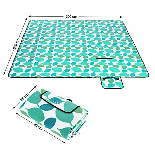 SONGMICS GCM78Y GCM78Y-XXL Fleece Picnic Blanket, XXL, Insulated, Waterproof, with Carrying Handle, Türkise Blätter, 200 x 200 cm - Shoppersbase
