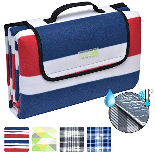 Beautissu BellaSe Picnic Blanket Waterproof Backing 200 x 200 cm Large Red & Blue Compact Fleece Outdoor Mat with Handle - Shoppersbase