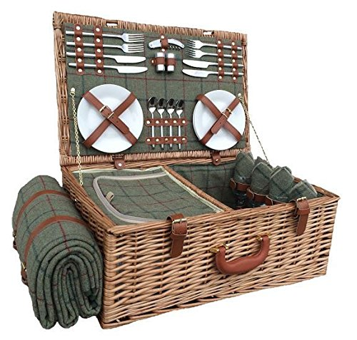 4 Person Green Tweed Fitted Picnic Basket - Shoppersbase