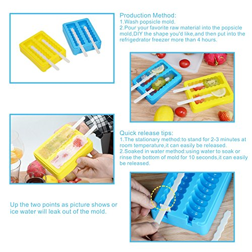 Silicone Popsicle Molds, Ice Pop Makers with Protective Lid, Ice Lolly Moulds, Set of 2 Silicone Ice Cream Moulds for Kids, Easy Ice Removal by iNeibo
