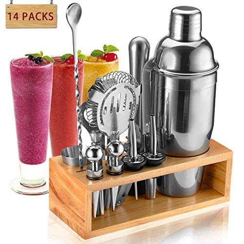 Cocktail Making Set, Cocktail shakers Stainless Steel Bartender Kit with Wooden Display Stand-14pieces - Shoppersbase