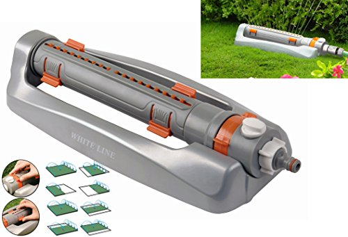 Metal base lawn bar sprinkler with coverage up to 375² m, Fully Adjustable, Tough and Durable + Free Nozzle Cleaning Tool Attached! - Shoppersbase