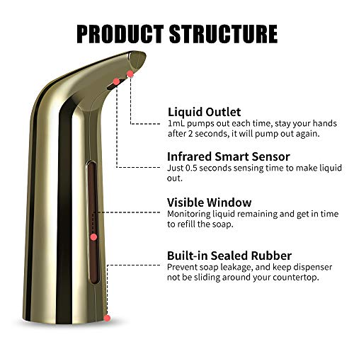 yorten Automatic Dispenser Infrared Hand-free Touchless Dispenser Dish Liquid Lotion Gel Shampoo Chamber Auto Hand Dispenser 400mL Gold/Siliver - Shoppersbase