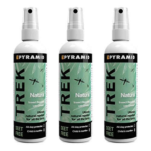 Pyramid Trek Natural (formerly Repel Natural) Insect/Mosquito Repellent DEET Free Citriodiol Spray (100ml, 3 Bottles) - Shoppersbase