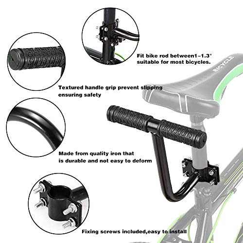 auvstar Child Bicycle Seat, Bike Back Seat Accessories set,Bicycle Back Seat Handle, Kids Saddle Electric Bicycle Bike Children Safety Rear Seat Saddle Cushion Safe Comfortable for Girl/Boy. - Shoppersbase