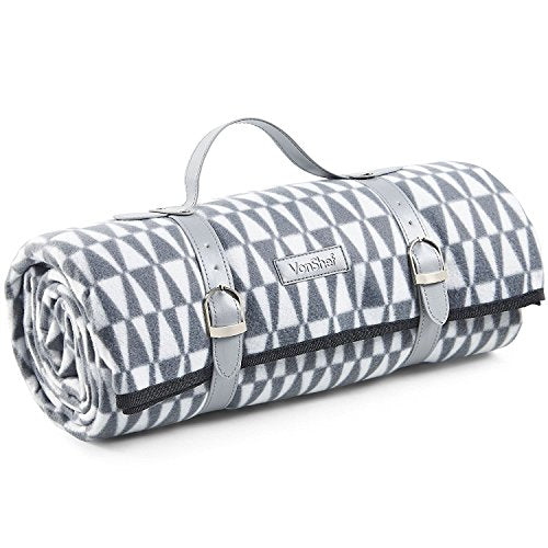 VonShef XL Picnic Blanket - 147 x 180cm - with Waterproof Lining and Faux Leather Carrier Handle – Grey Geo - Shoppersbase
