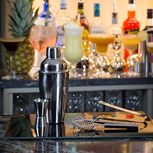 Rink Drink Luxury 5 Piece Cocktail Making Bartender Drinks Gift Box Set with Manhattan Stainless Steel Cocktail Shaker, Drinks Measure, Tongs, Strainer & Twisted Spoon - Shoppersbase
