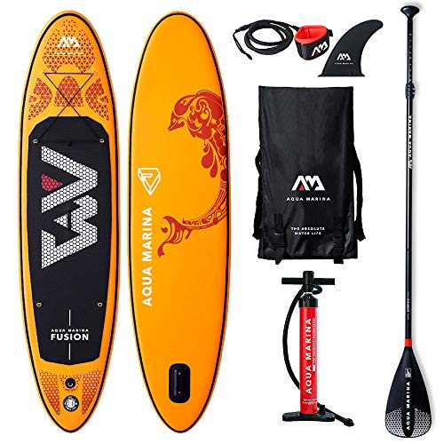 Aquamarina Fusion SUP Stand Up Paddle Board with 	Paddle, Leash, Magic Back Pack and Double Action Pump - Shoppersbase