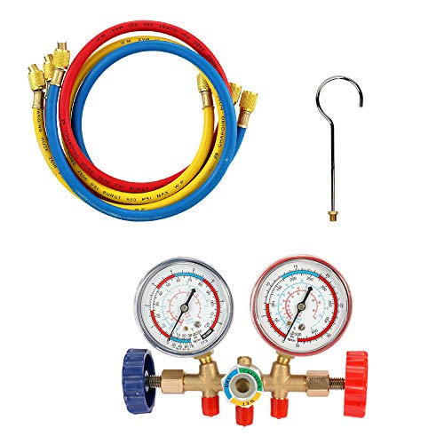 Vislone R134A Refrigeration Gauge A/C Refrigerant Air Conditioning Manifold Gauge Tools Set with Hose and Hook for R12 R22 R404A R134A - Shoppersbase