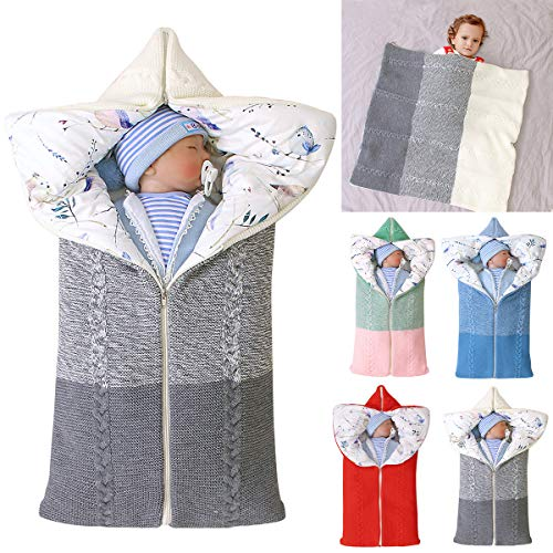 Baby Swaddle Blanket Stroller Wrap,Soft Thick Fleece Warm Blanket Newborn Sleeping Bag for 0-12 Month Boys Girls - Shoppersbase