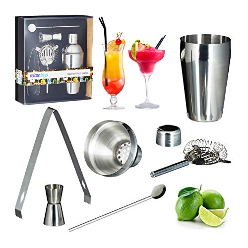 Relaxdays 5-Piece Cocktail Set, Rust-free Stainless Steel, Shaker, Sieve, Bar Spoon, Tongs, Jigger, Silver - Shoppersbase