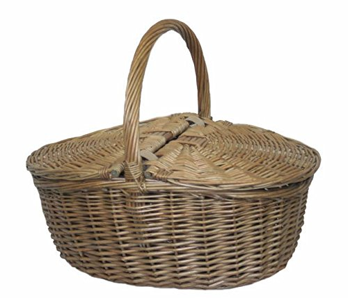 Red Hamper Wicker Willow Antique Grey Oval Picnic Basket - Shoppersbase
