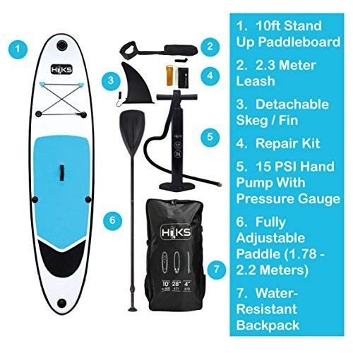 HIKS Blue 10ft / 3m Stand SUP Board Set Inc Paddle, Pump, Backpack & Leash Suitable All Abilities Ideal Beginners Inflatable Paddleboard Kit - Shoppersbase