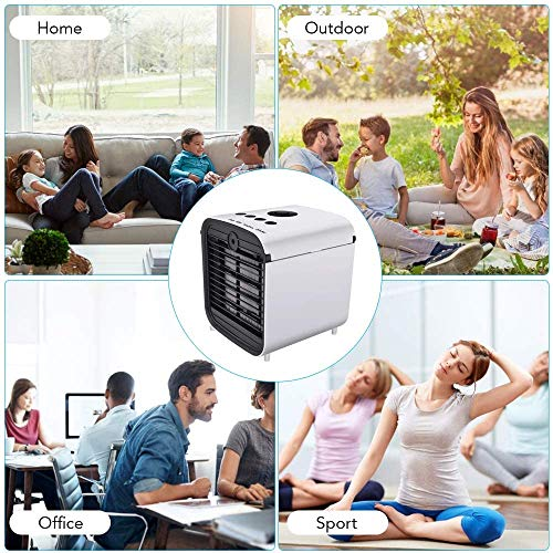 Personal Air Cooler, Portable Mini Air Conditioner, 3 in 1 Evaporative Coolers, Humidifier, Purifier with USB, 7 Colors LED Night, 3 Speeds Desktop Cooling Fan for Office, Home, Dorm, Travel - Shoppersbase