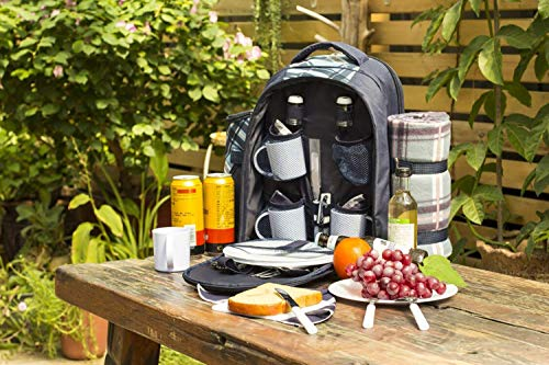 Eono by Amazon - 4 Person Picnic Backpack Hamper Cooler Bag with Tableware Set & Blanket - Shoppersbase