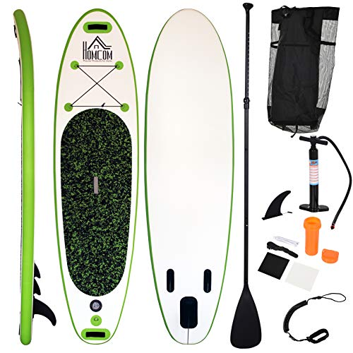 HOMCOM Inflatable Stand Up Paddle Board SUP Surfing Non-Slip Panel with Adjustable Paddle, Carry Bag, Repair Fixing Kit, Air Pump Beach Outdoor Adults - Shoppersbase