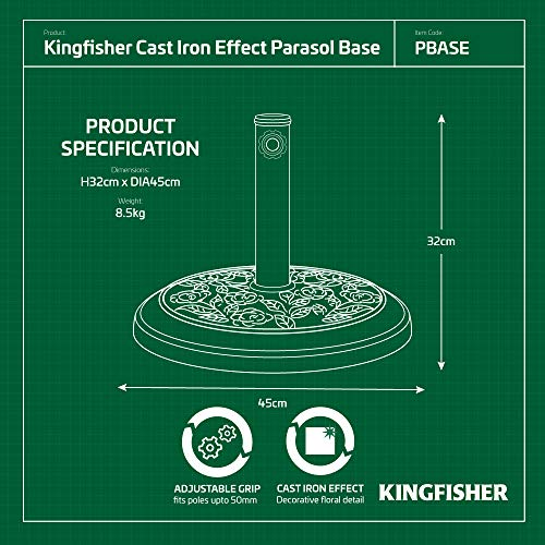 Kingfisher 9kg Cast Iron Effect Parasol Base - Shoppersbase