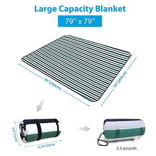 "HOdo Picnic Blanket Extra Large 79""x79"" Camping Blanket with Waterproof PEVA Backing and Sandproof Front, Portable, Easy Folding, Machine Wash - Shoppersbase"