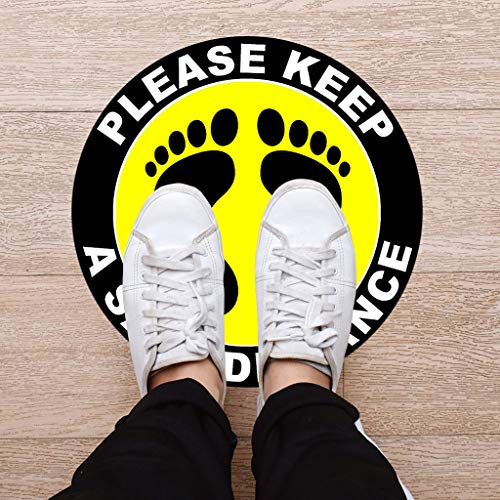 5pcs Floor Signs Distance Warning Sign Caution Keep Distance Floor Decal Sticker, Safety Sticker, Stunning Vinyl Safety Marking and Dance Floor Splicing Sign - 30cm Round, Yellow - Shoppersbase