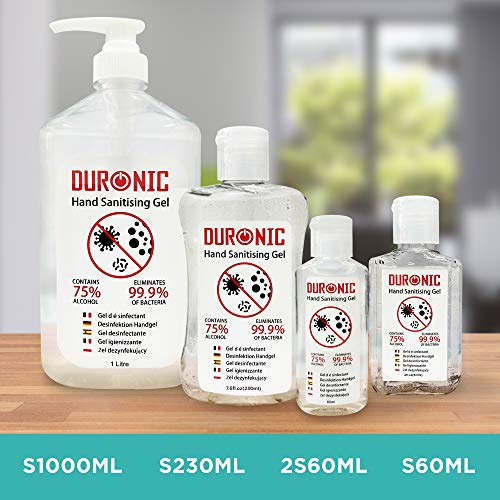 Duronic Hand Sanitiser Gel S1000ML | 1000ml Bottle – Large 1 Litre Jumbo Size | 75% Alcohol | Kills 99.9% Bacteria | Anti-bacterial | Fast Drying | Fragrance-Free Formula - Shoppersbase