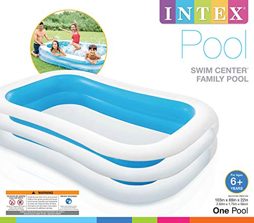 "Intex Swim Centre Family Inflatable Pool, 103"" x 69"" x 22"" (Assorted Colors: Blue or Green) - Shoppersbase"