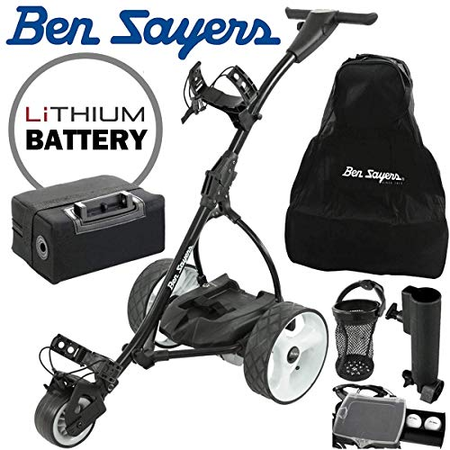 Ben Sayers Electric Golf Trolley + Lithium Battery + Free Accessories - Black - Shoppersbase