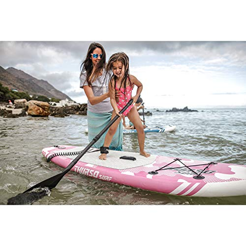 THURSO SURF Prodigy Junior Kids Inflatable Stand Up Paddle Board SUP 228 x 76 x 10 cm Two Layer Includes Adjustable Carbon Shaft Paddle/3 Fins/Leash/Duffle Bag (Pink) - Shoppersbase