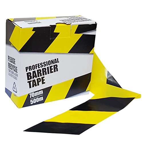 2 x Professional Barrier Hazard Safety Warning Tape - Yellow & Black, 70mm x 500m - Shoppersbase