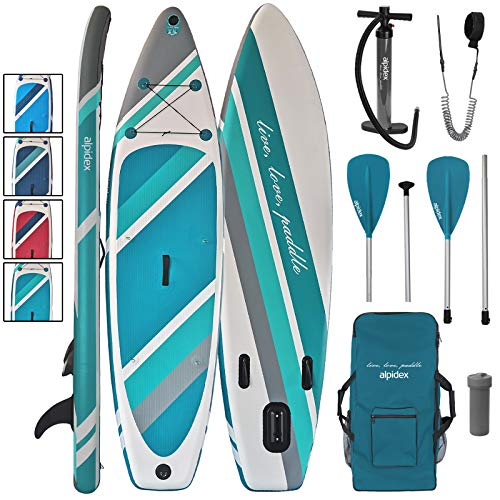 ALPIDEX SUP Package Stand Up Paddle Board Inflatable 320 x 76 x 15 cm up to 130 kg Backpack Leash Aluminium Kayak Paddle Air Pump, Colour:Earth - Shoppersbase