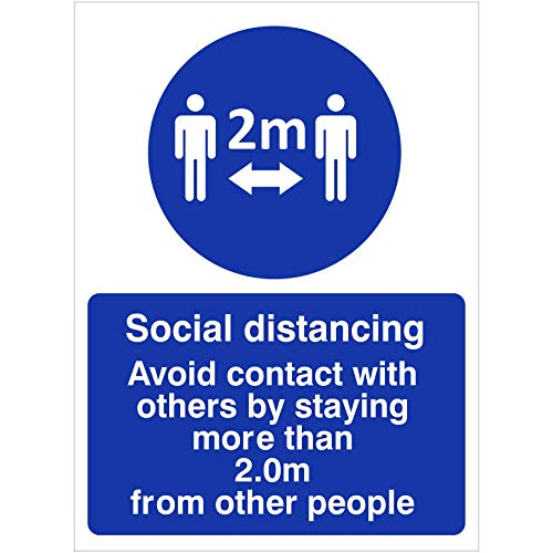 Social distancing zone sign. Avoid contact with others by staying more than 2.0m from other people. Self adhesive sticker to fight the spread of viruses. 150mm x 200mm - Shoppersbase