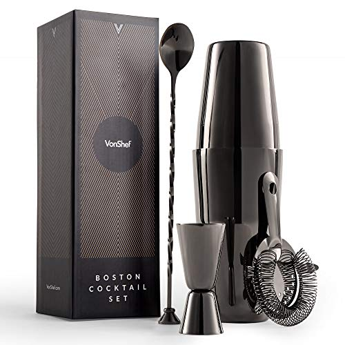 VonShef Graphite Boston Cocktail Making Set - 7 Piece Set with Accessories including 800ml Shaker, Spoon & Muddler, Double Jigger and Strainer - Shoppersbase