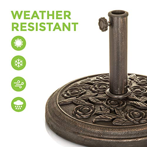 LIVIVO Heavy Duty 9kg Parasol Umbrella Holder Base with Cast Iron Effect Floral Rose Design Secure and Robust For Awning Sunshade Airer Whirlygig Poles up to 50mm - Shoppersbase