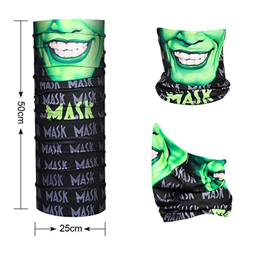 Halloween Neck Gaiter Face Scarf - Men Women Magic Balaclava Sun UV protection Bandana For Fishing Motorcycling Running - Green grimace - Shoppersbase