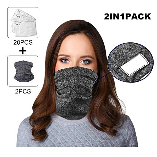 Bilisder Neck Gaiter Bandana with Filters, Multi-purpose Neck Gaiter Scarf Headscarf Face Cover For Men Women Dust Protection Outdoors Sports (Dark Grey(2Pack+20PCS Filters)) - Shoppersbase
