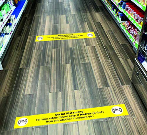 Pack of 5 Please ensure social distancing stay more than 2 metres or 6 feet away from people Safety sign - Retail and Warehose durability Floor graphic 600mm x 80mm - Shoppersbase