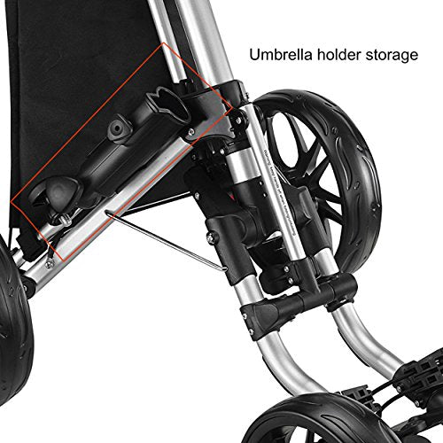 Caddytek One-Click Folding Golf trolley 4 Wheel Golf Push/Pull Cart Version 3-Lime - Shoppersbase