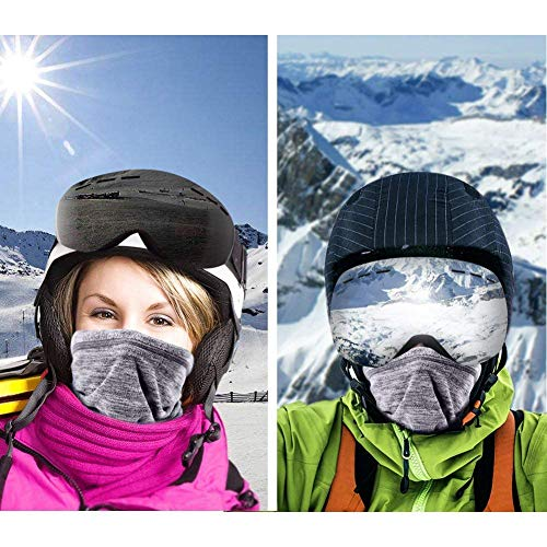 Sfee 2 Pack Neck Warmer Gaiter Fleece Ski Winter Balaclava for Men and Women, Winter Face Mask Scarf Tube Cover Bandanas for Cold Weather Windproof Winter Motorcycle Skiing (Grey) - Shoppersbase