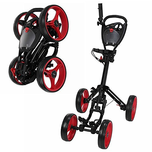Caddymatic Golf Quad 4-Wheel Folding Golf Pull/Push Trolley Black/Red - Shoppersbase
