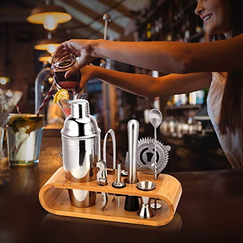 Premium Cocktail Shaker Bartender Kit - 10 Piece Bar Tool Set with Stylish Bamboo Stand, Include Bartender's Professional Shaker, Strainer, Jigger, Liquor Pourers and More - Shoppersbase